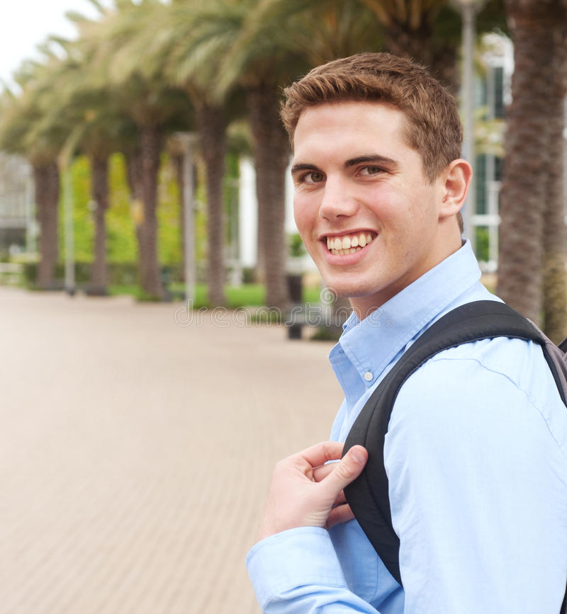 Portrait of a young college student stock image