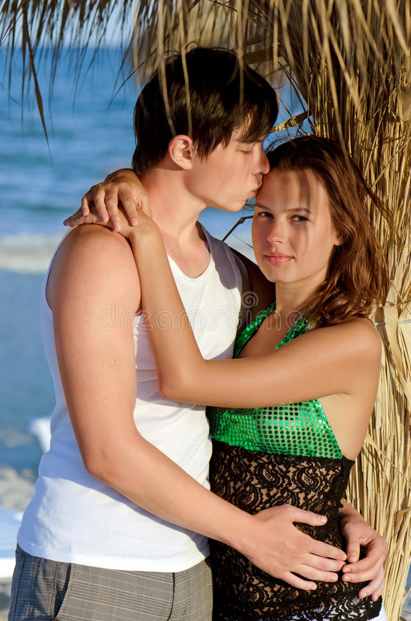 Portrait of a young couple. On the beach stock images