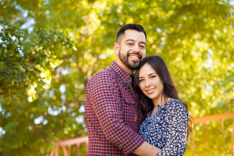 Portrait of a young couple outdoors stock image
