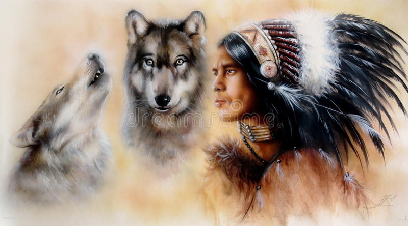 A portrait of a young courrageous indian warrior with a pair of wolves royalty free illustration