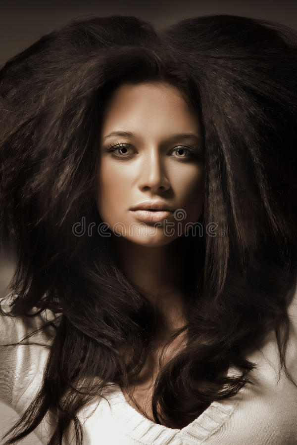 Portrait of a young cute brunette lady stock images