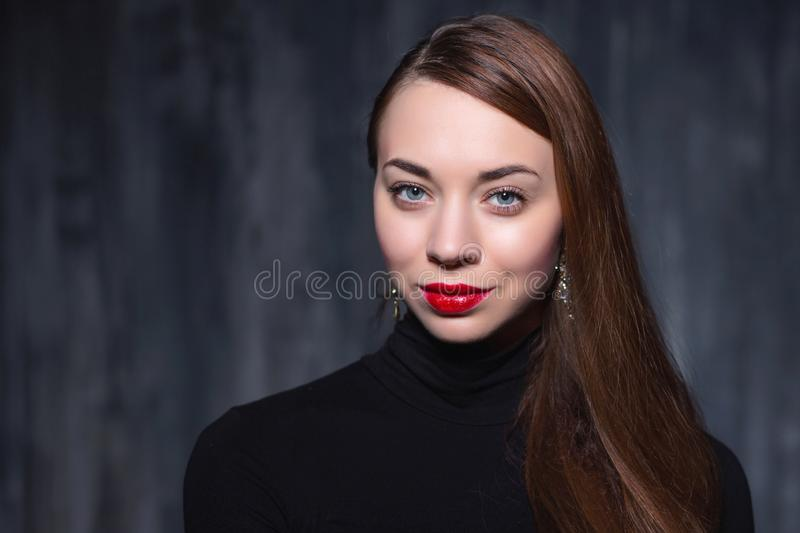 Portrait of a young cute brunette stock image