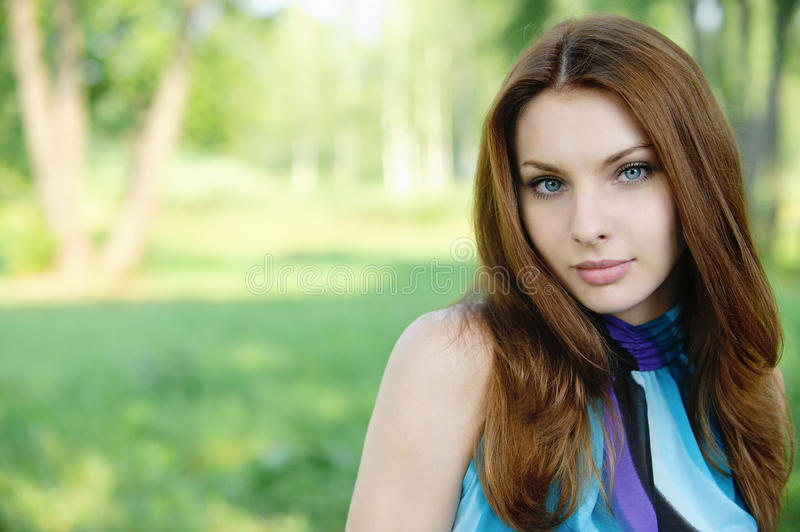 Portrait Of Young Dark-haired Woman Stock Photos