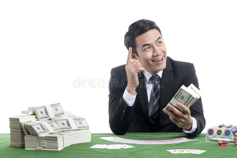 Portrait of young dealer man is expressed his delight at the tho stock image