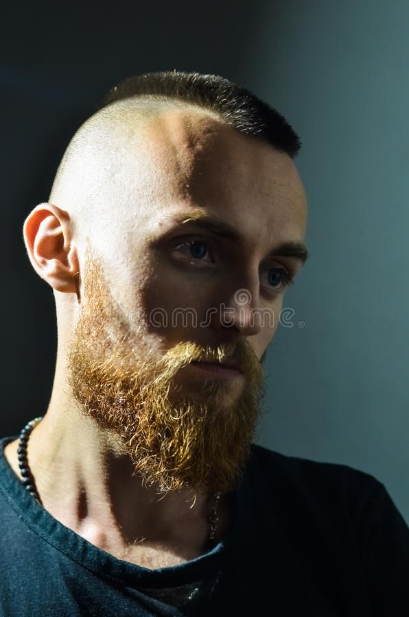 Portrait of young European hipster with fair skin and trendy ginger beard. Fashionable undercut hairstyle and handsome face featur. Es. Mohawk hairstyle stock photo