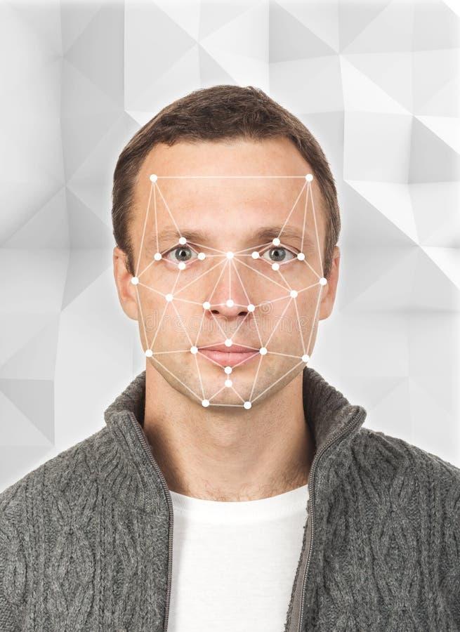 Portrait of young European man, facial recognition stock photos