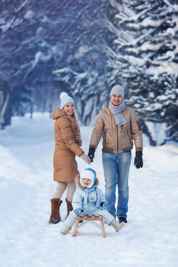 Portrait of Young family in a winter park royalty free stock images
