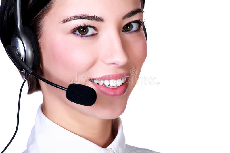 Portrait of a young female customer service operator royalty free stock photo