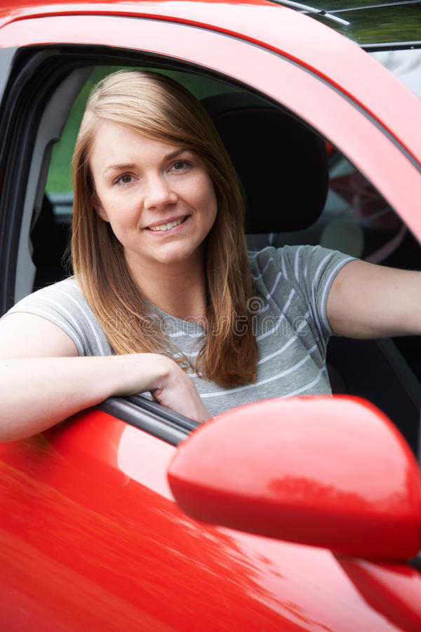 Portrait Of Young Female Driver In Car stock images