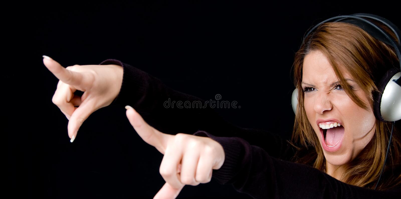 Download Portrait Of Young Female Enjoying Music Stock Photo - Image: 9743494