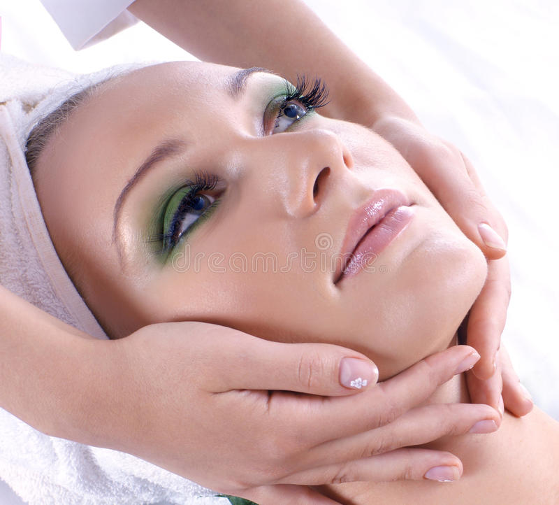 Portrait of a young female on a spa procedure royalty free stock images