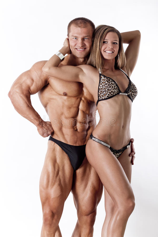 Portrait of young fitness couple stock photo