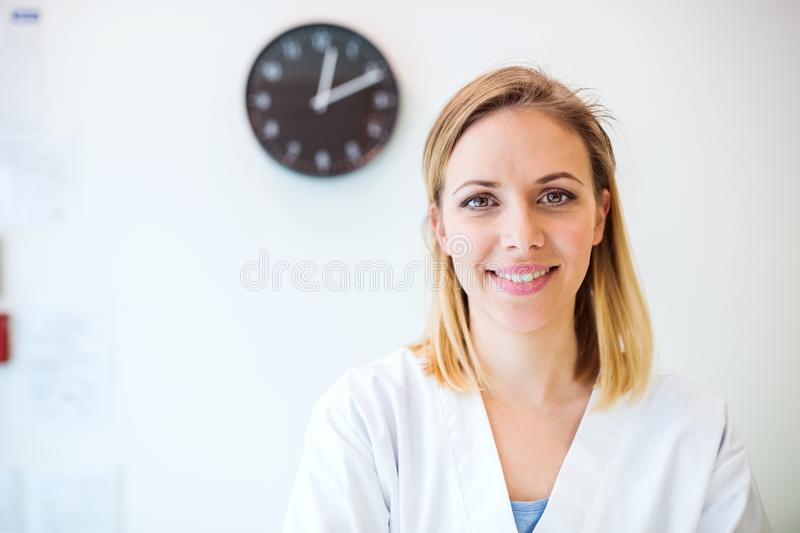Portrait of a young friendly female nurse or a doctor. royalty free stock photography
