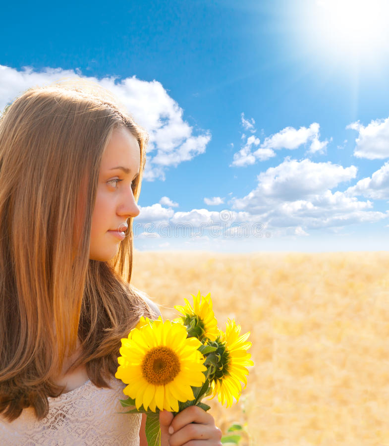 Download Portrait Of Young Gir Looking Sideways Stock Photo - Image of beautiful, carefree: 39512012