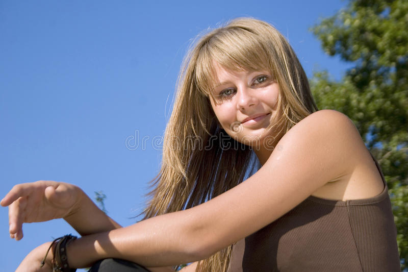Portrait of young girl stock photo