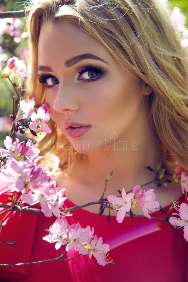 Portrait of a young girl blondes with make-up royalty free stock images