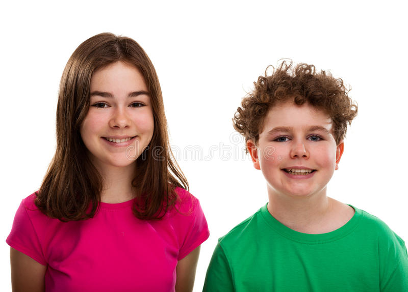 Portrait of young girl and boy stock photo