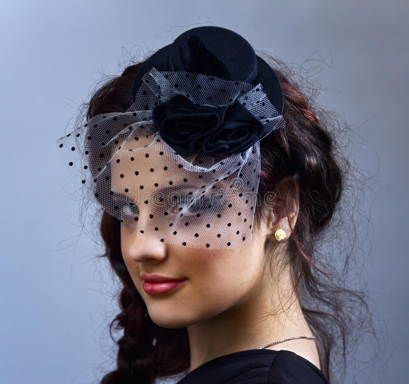 Download Portrait Of The Young  Girl In Hat With Veil. Stock Photo - Image: 24170708