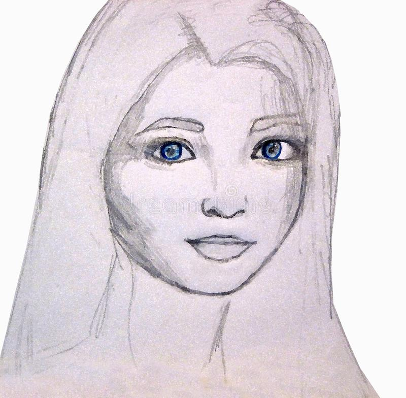 Portrait of a young girl pencil graphics royalty free stock image