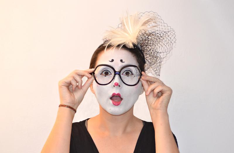 Surprised and excited beautiful girl-mime royalty free stock image