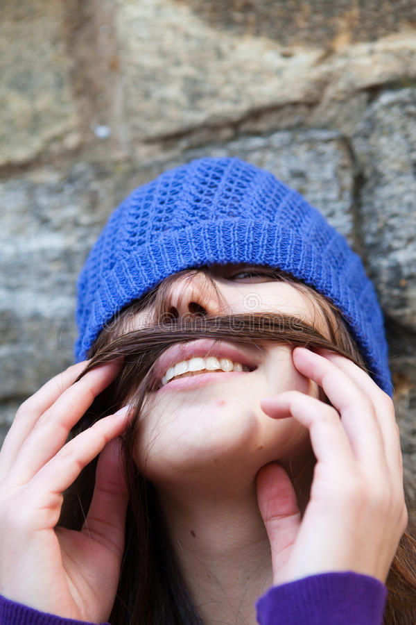 Portrait Of A Young Girl With Moustache Stock Photography