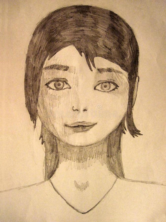 Portrait of a young girl pencil graphics stock image