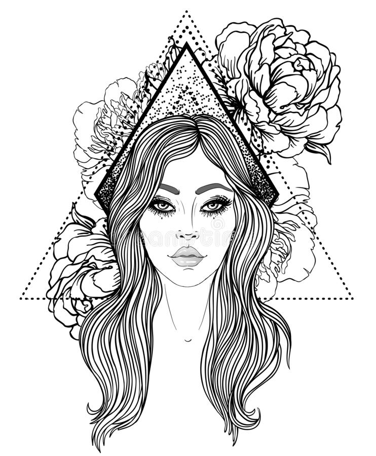 Portrait of a young girl with peonies in her hair. Hand drawn vector fashion illustration black outlines isolated on. White. Female portrait or magic fairy vector illustration