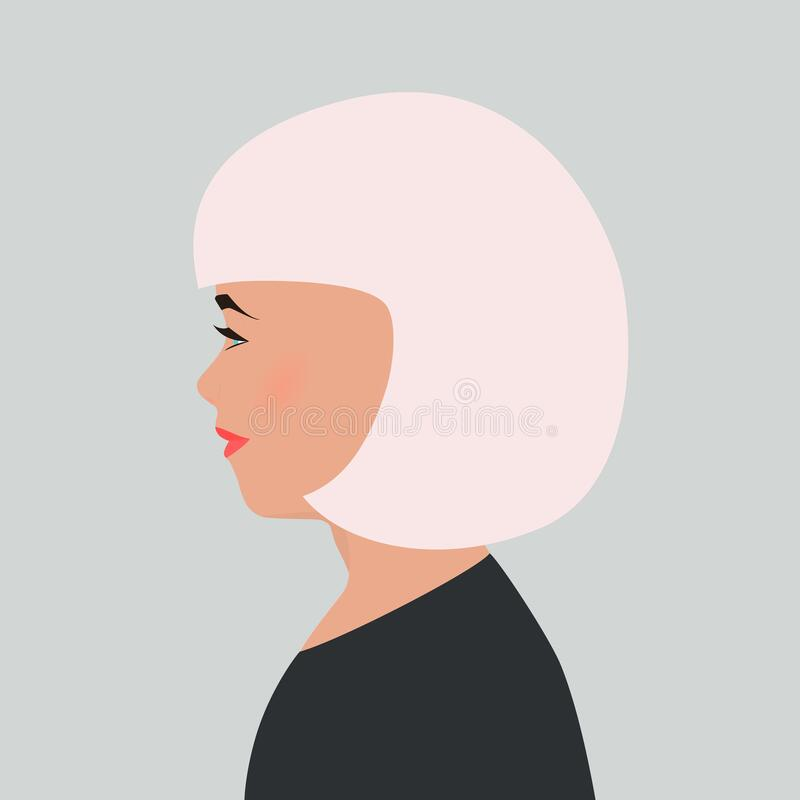 Portrait of young girl in profile. Pretty woman, blonde with short hair and blue eyes. Female silhouette isolated on gray vector illustration