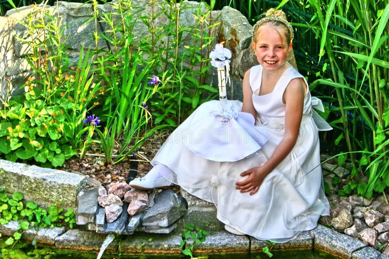 Portrait of an young girl, religious celebration royalty free stock image