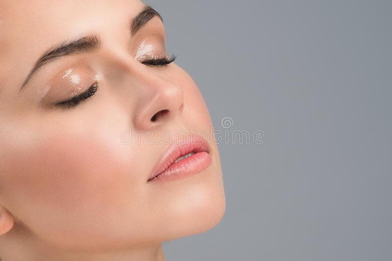 Portrait of a young girl's face with perfect skin and nude wet make up royalty free stock photos
