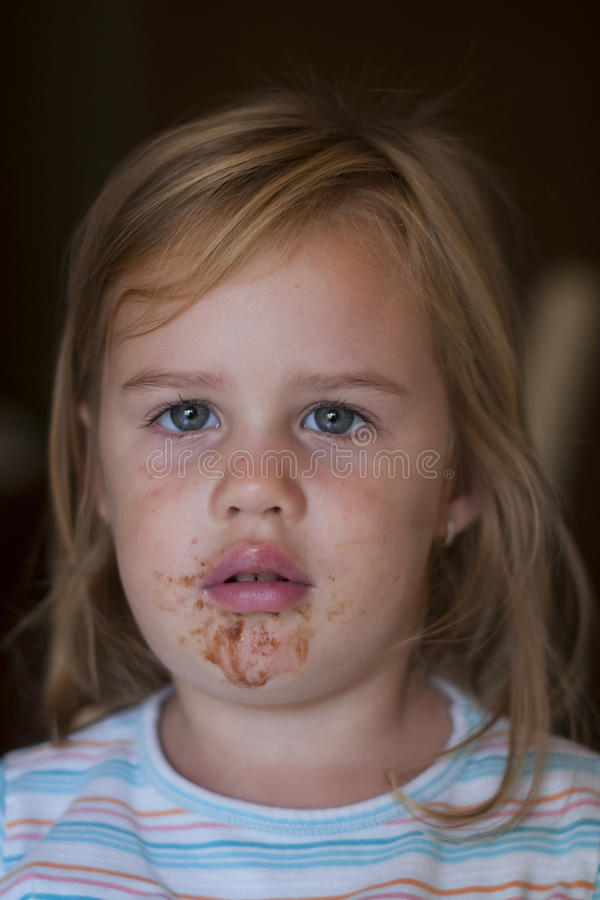 Portrait of young girl with smeary face royalty free stock photos
