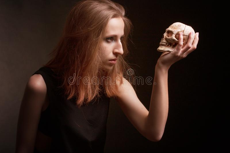 Portrait of a young girl in the style of rock stock image
