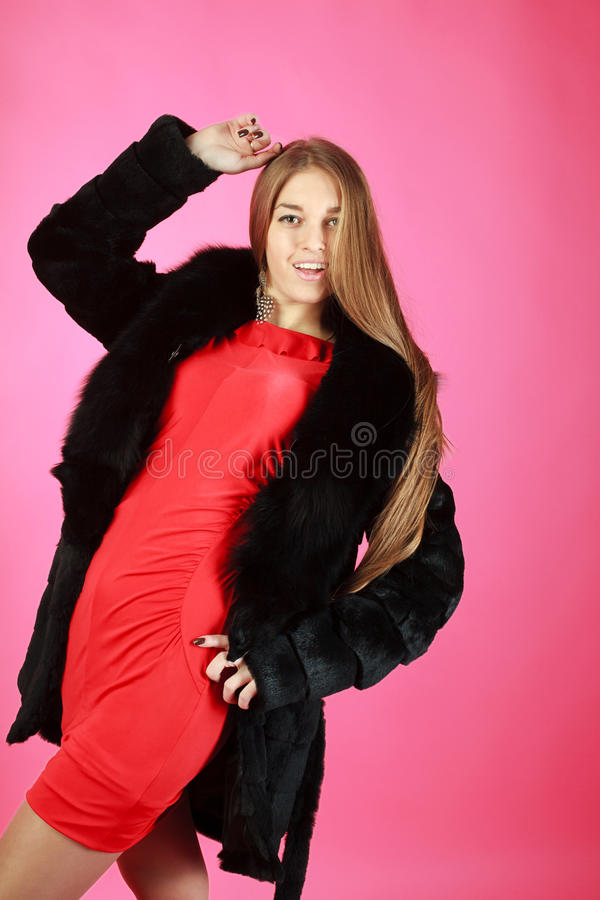 Portrait Of A Young Girl Wearing Coat Stock Photography