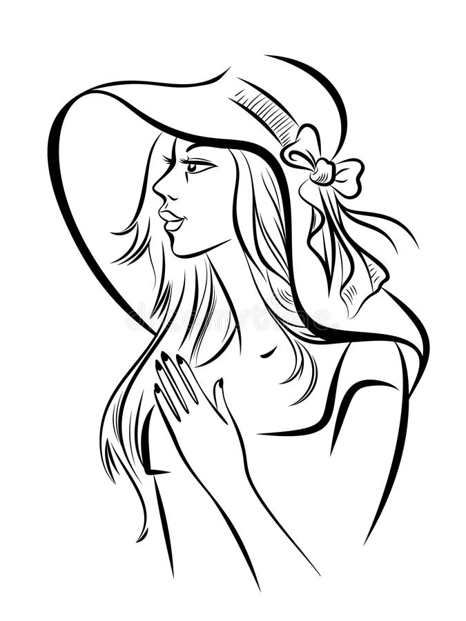 Portrait on young girl in a wide-brimmed hat. vector illustration