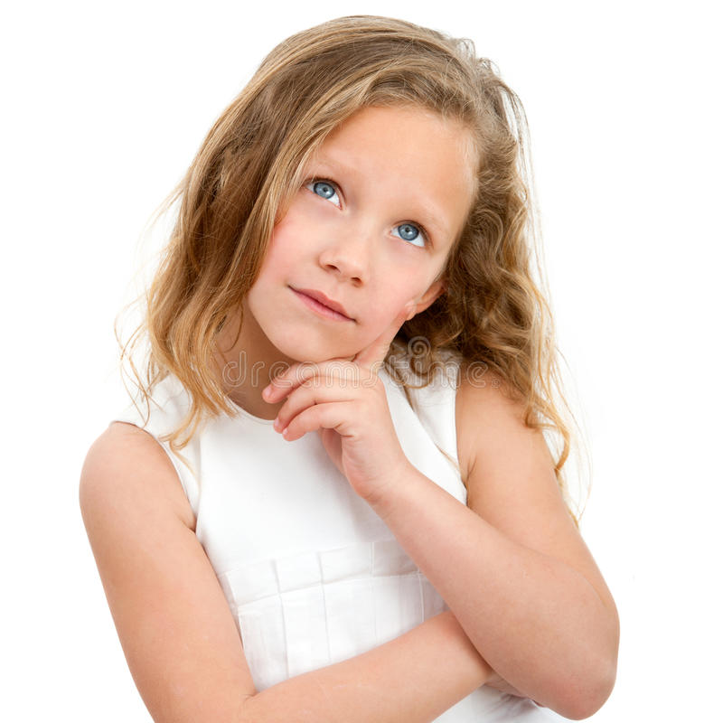 Portrait of young girl wondering. royalty free stock images