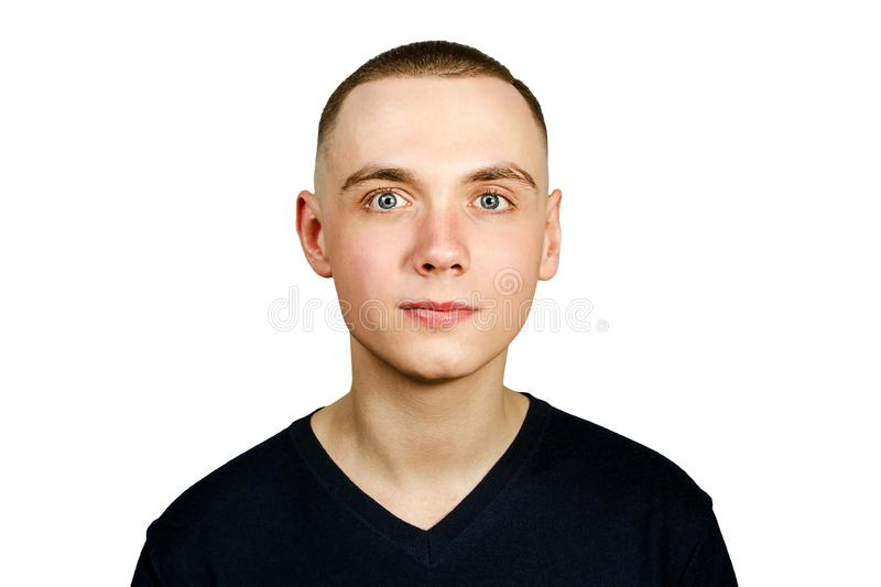 Portrait of young guy with caesar hair cut, isolated on white background. Portrait of young guy with caesar hair cut, isolated on a white background royalty free stock photo