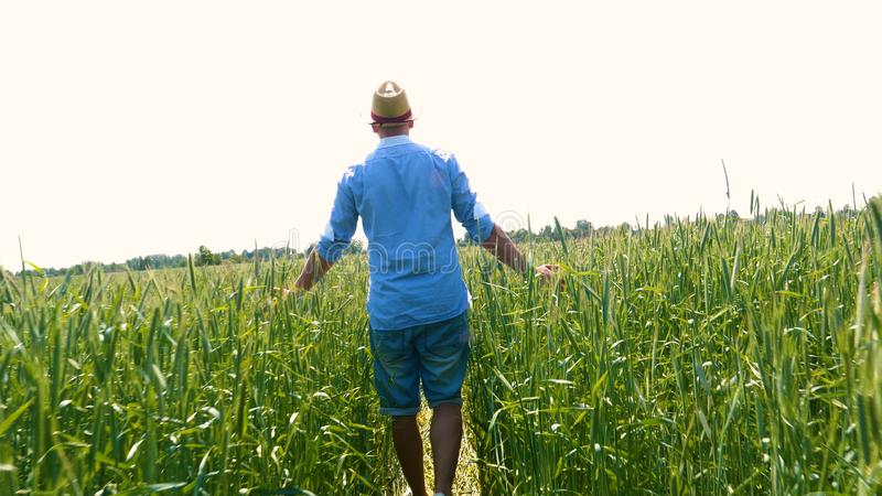 Portrait of a young guy man in a working uniform and a straw hat in the middle of a field around wheat and hay, running around i. T and checking the wheat for royalty free stock images