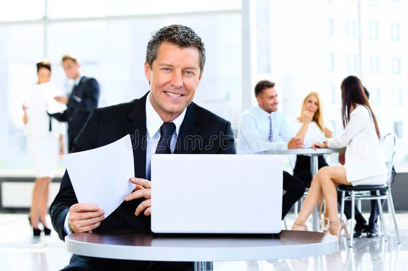Portrait of young handsome businessman royalty free stock photography