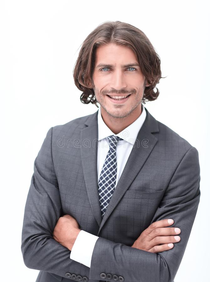 Happy young man with dark hair wearing an elegant suit stock images
