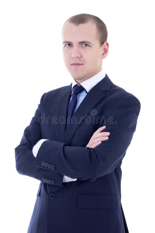 Portrait of young handsome man in business suit isolated on whit royalty free stock image