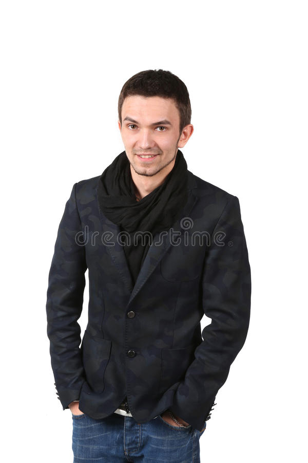 Portrait of young handsome man smiling stock photos