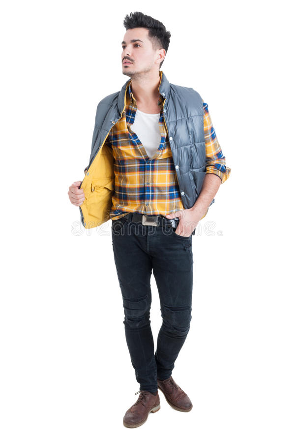 Portrait of a young handsome man wearing modern clothes royalty free stock photography