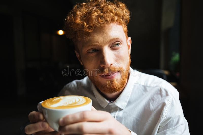 Portrait of young handsome readhead bearded man in white shirt h stock photos