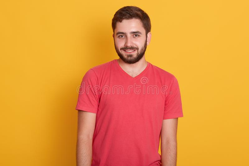 Portrait of young happy attractive bearded guy, handsome male wearing red casual t shirt, smiling and looking directly at camera royalty free stock image