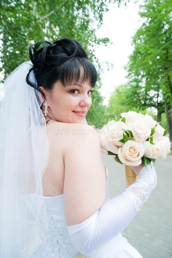 Portrait of young happy bride... royalty free stock photos