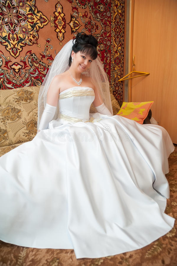 Portrait of young happy bride stock photography