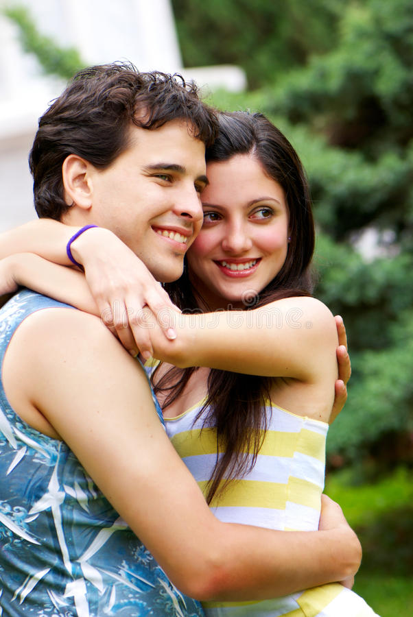 Portrait of young, happy couple stock photo