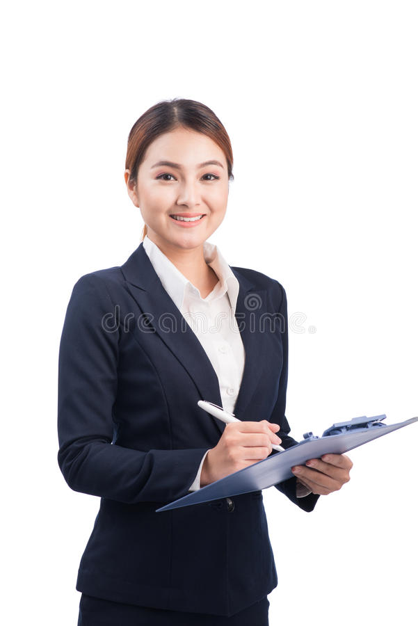 Portrait of young happy smiling asian business woman with blue f. Older, isolated on white background royalty free stock photos