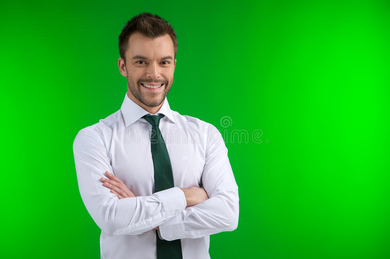 Portrait of young happy smiling business man. royalty free stock photo