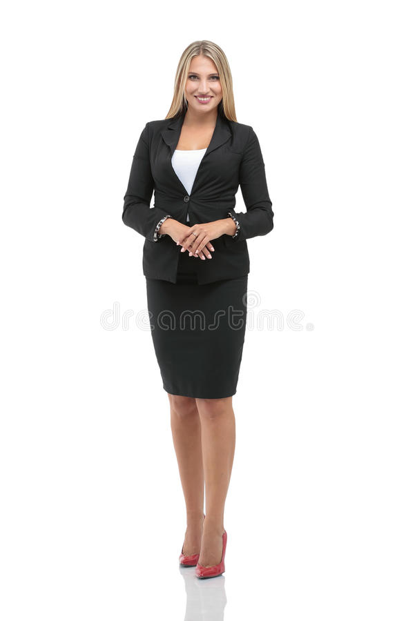 Portrait of young happy smiling businesswoman isolated against w royalty free stock photography